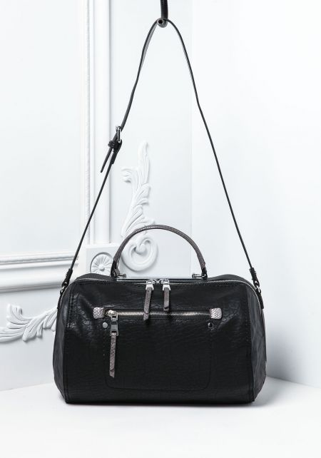 Black Textured Leatherette Shoulder Bag