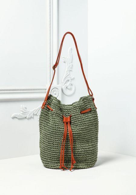 Green Woven Drawstring Tote Bag