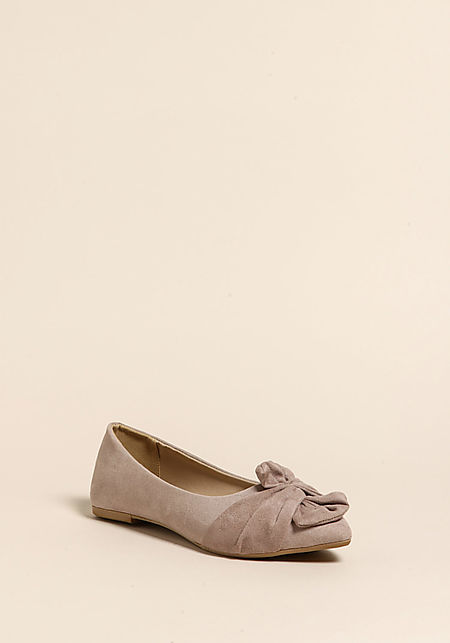 Taupe Suedette Knotted Flats