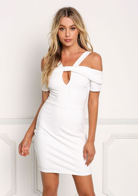 Ivory Cold Shoulder Cut Out Bodycon Dress