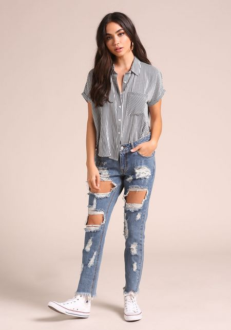 Denim Distressed Cut Out Jeans