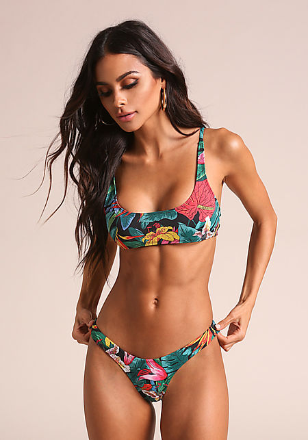 Floral Tropical Swimsuit Bikini Bottoms