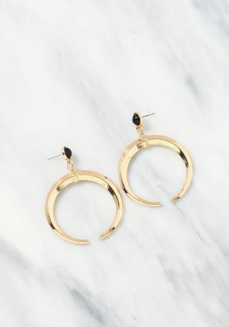 Gold C Hoop Stud Earrings