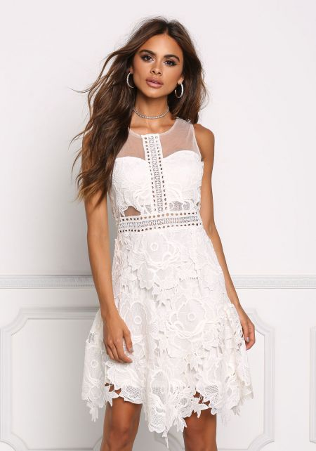 Ivory Floral Crochet Flare Dress