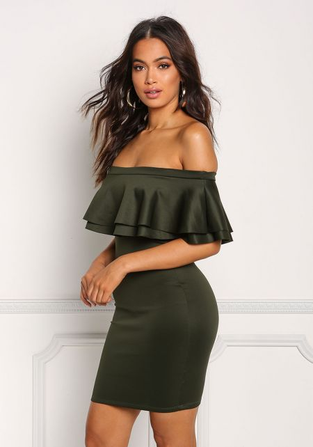 Hunter Green Ruffle Layered Bodycon Dress
