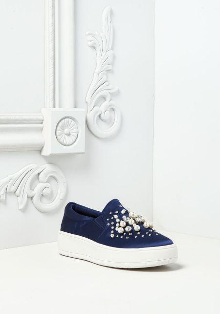 Navy Pearl & Rhinestone Slip On Sneakers