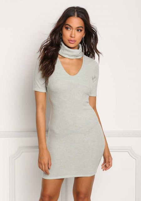 Sage Soft Knit Turtleneck Plunge Bodycon Dress