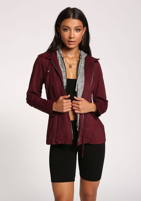Wine Hooded Utility Jacket