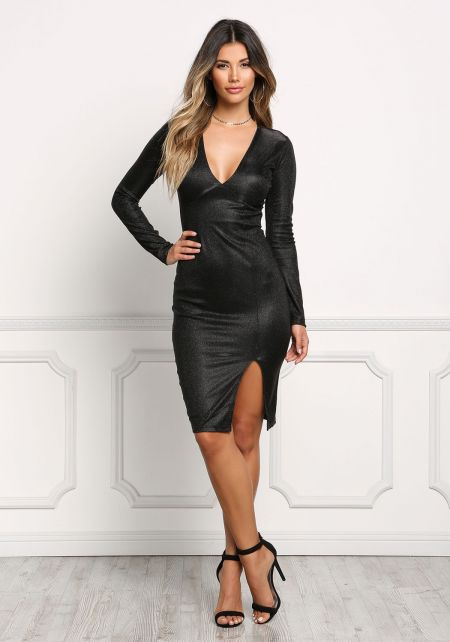 Black Shimmer Plunge Bodycon Dress
