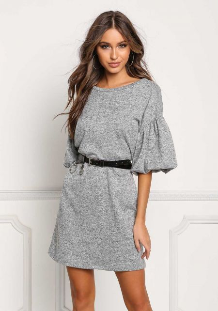 Heather Grey Marled Bell Sleeve Shift Dress