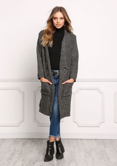 Charcoal Speckled Thick Knit Longlined Cardigan