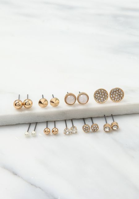 Gold Stud Assorted Earrings Set
