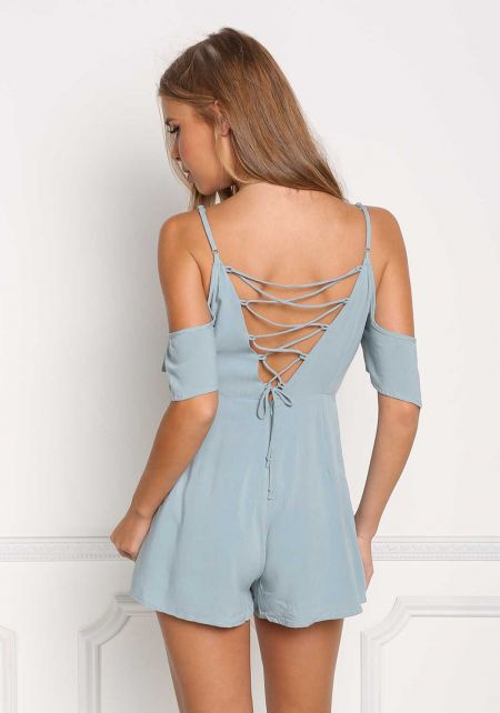 Sage Low Back Lace Up Cold Shoulder Romper