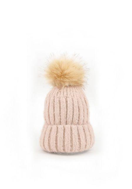 Dusty Pink Faux Fur Pom Pom Thick Knit Beanie