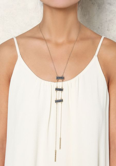 Gold and Black Stone Bar Delicate Necklace