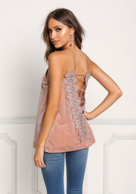 Blush Embroidered Low Back Velvet Tank Top