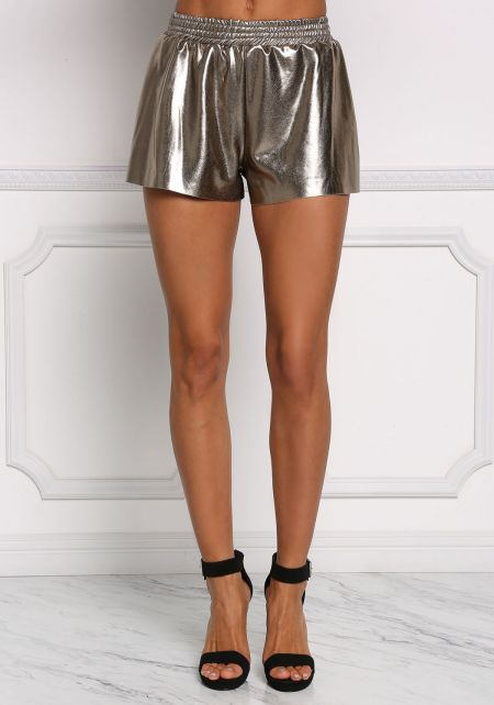 Gold Metallic Flared Shorts