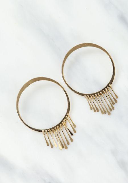 Gold Hoop and Tassel Fringe Earrings