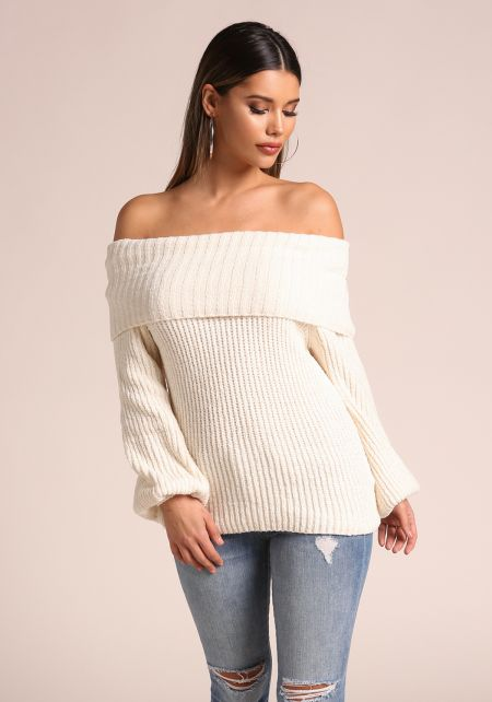 Off White Thick Ribbed Knit Off Shoulder Sweater T