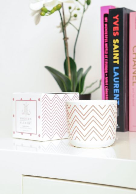 Rose Chevron Pink Petal Scented Soy Candle