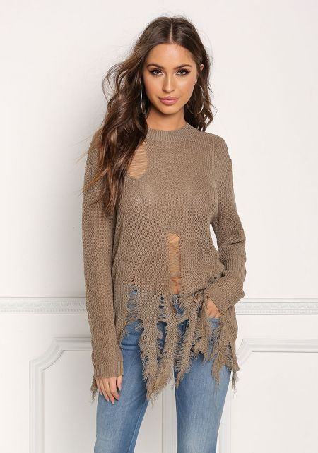 Khaki Frayed & Distressed Sweater Top