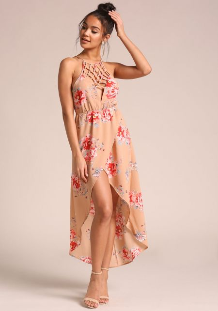Taupe Caged Floral Hi-Lo Maxi Dress