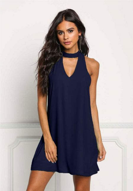 Navy Choker Cut Out Shift Dress