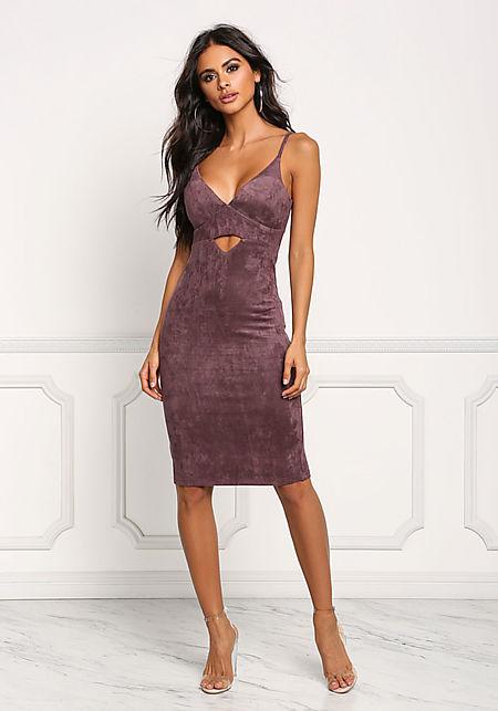 Purple Suedette Cut Out Plunge Bodycon Dress