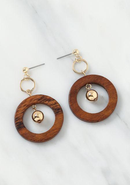 Brown Wooden Stud Drop Earrings