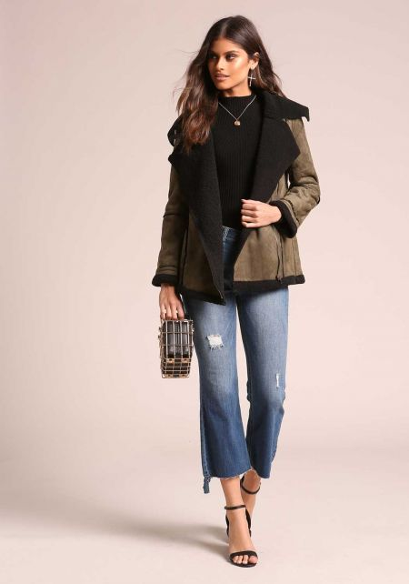 Olive Suedette Faux Shearling Zipper Jacket