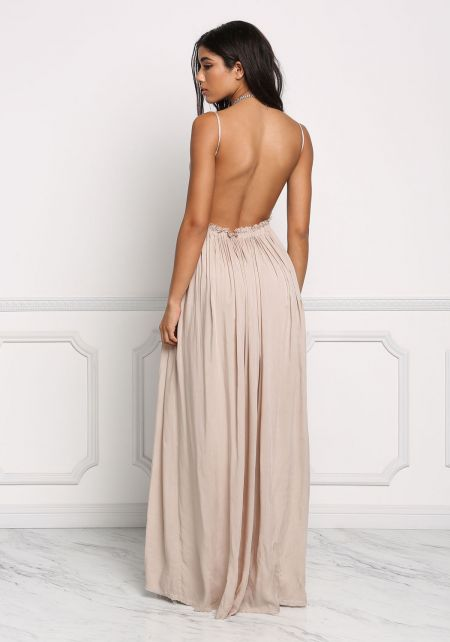 Taupe Open Back Crochet Gathered Maxi Dress