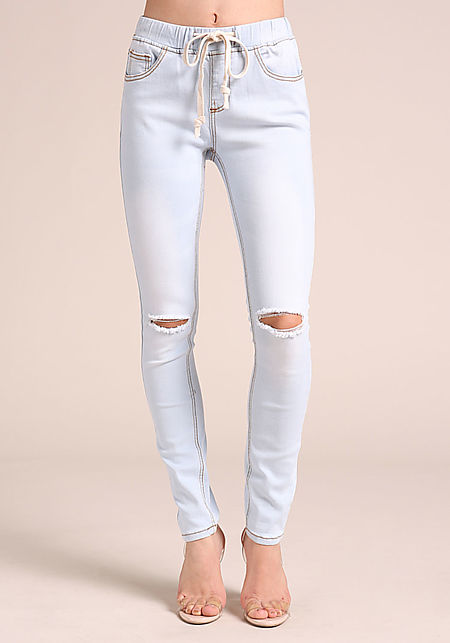 Light Blue Drawstring Knee Slit Skinny Jeans