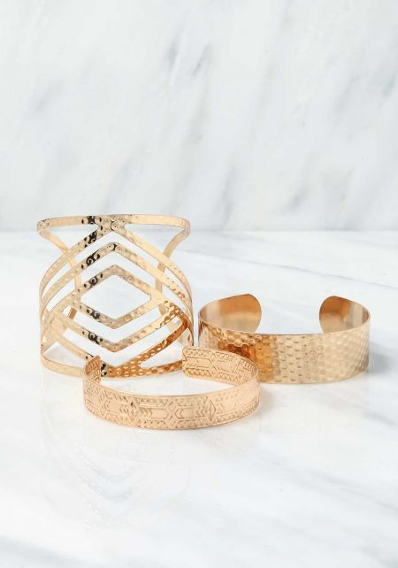 Gold Textured Cuff Bracelet Set
