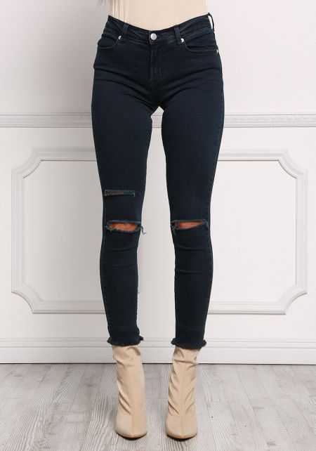 Dark Denim Knee Slit Mid Rise Skinny Jeans