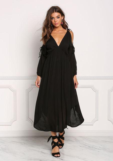 Black Gauze Plunge V Sleeve Cut Maxi Dress