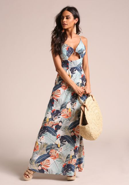 Ivory Tropical Floral Cut Out Maxi Dress