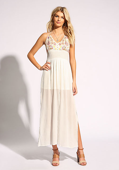 White Crepe Slit Smocked Maxi Dress