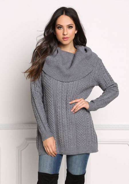 Grey Cowl Neck Thick Cable Knit Sweater Top