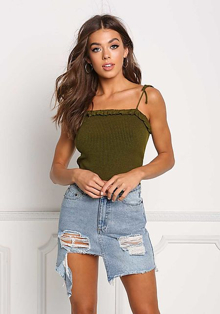 Olive Ruffle Ribbed Knit Crop Top