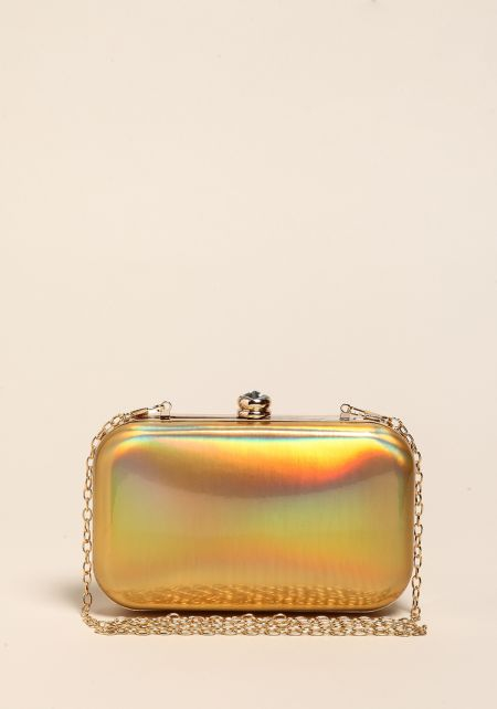 Gold Holographic Rhinestone Clutch