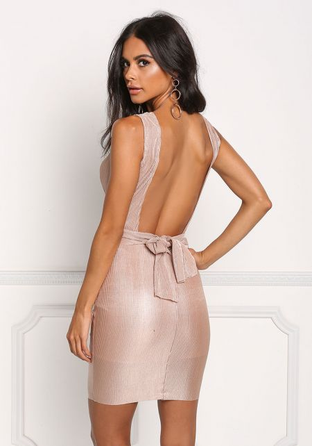 Nude Ruched Plunge Bodycon Dress