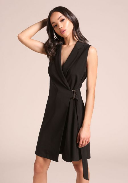 Black Waist Tie Vest Dress