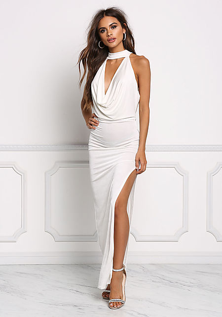 Ivory Draped High Slit Maxi Dress
