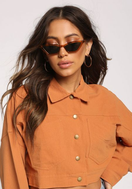 Burgundy Skinny Cat Eye Sunglasses