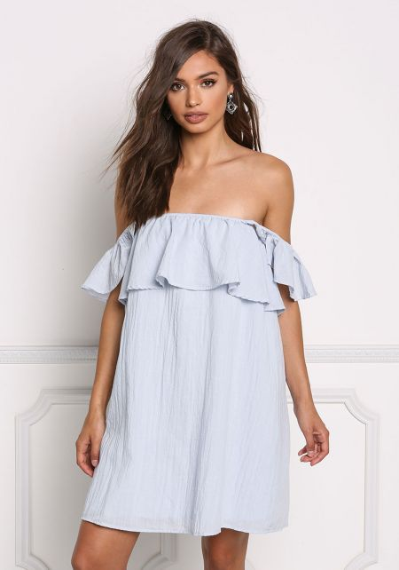 Light Blue Off Shoulder Ruffle Layered Shift Dress