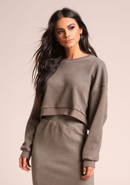 Olive Textured Leatherette Cropped Sweater Top