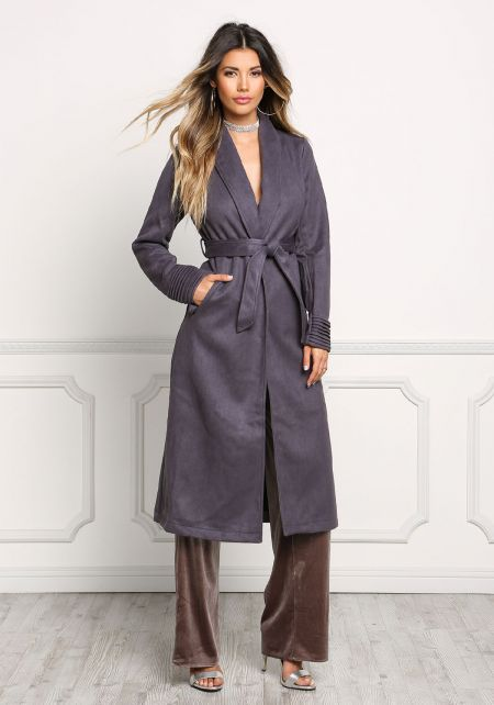 Charcoal Cinched Longlined Suedette Coat