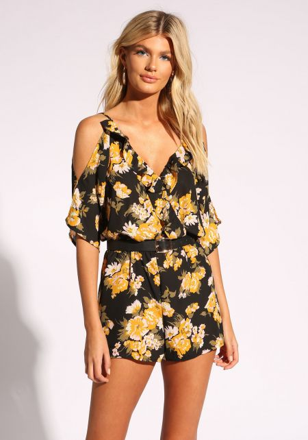 Black Floral Ruffle Cold Shoulder Romper