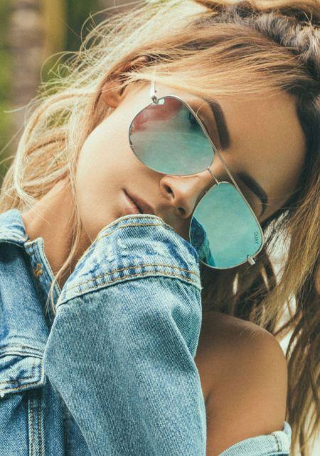 Quay X Desi Perkins High Key Sunglasses in Blue