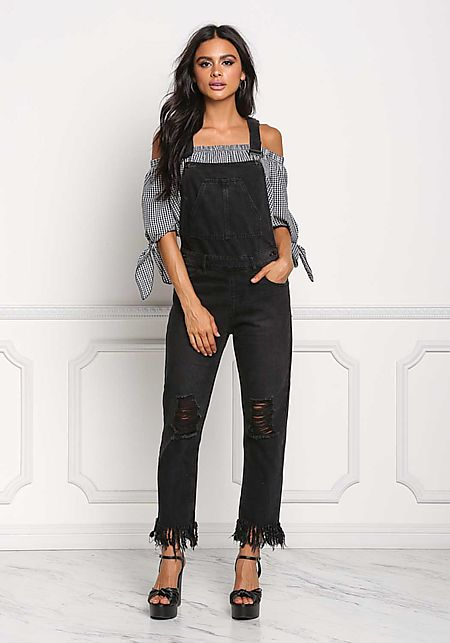 Black Distressed Fringe Denim Overalls